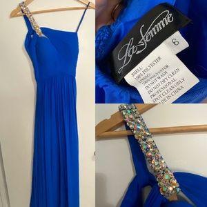 La Femme Dresses - La femme blue prom gown
